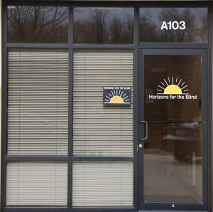An image of the front door of Horizons for the Blind